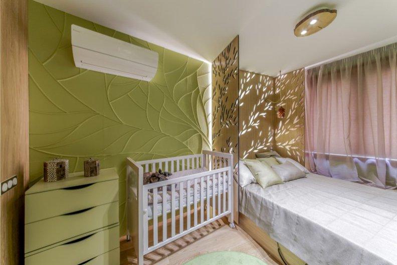 зонирование спальни родителей и комнаты ребенка с помощью экрана