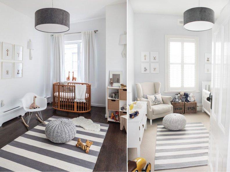 серо-еблый интерьер детской комнаты новорожденного