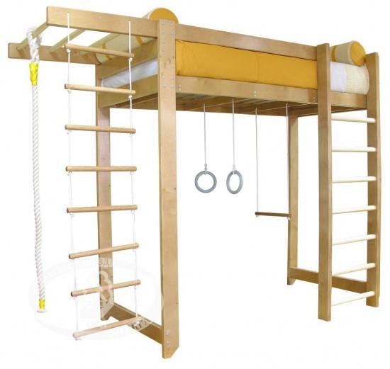 Кровать-чердак со спортивным комплексом